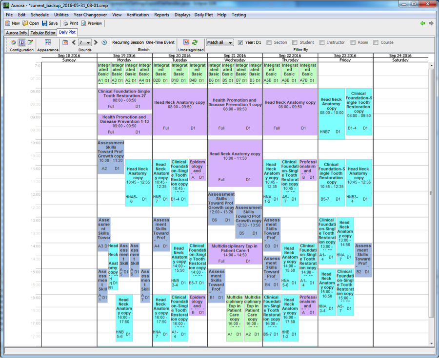 The Daily Plot allows the user to view the events that are occurring in a calendar