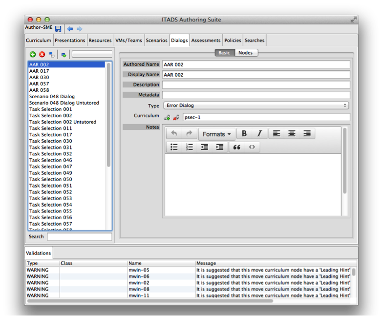 An example authoring tool from the ITADS authoring suite